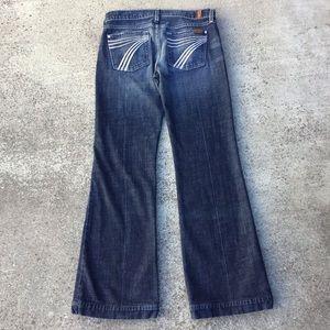 "7FAMK Dojo Flare White Stitch 31.5"" Inseam Jeans"